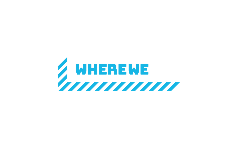 Wherewego logo cyan white